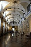 Галерея гобеленов во дворце Borromeo на Isola Bella, Stresa, Италии стоковые изображения rf
