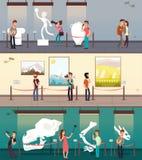 Галерея музея при изображения искусства, экспонат и установленные знамена вектора детей иллюстрация штока