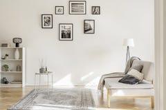 Галерея черно-белых плакатов на стене первоклассного интерьера живущей комнаты стоковые изображения rf