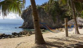 Гамаки и взгляды тропического пляжа Остров Apo, Филиппиныы Стоковое Изображение RF