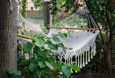 Гамак в саде предусматриванном с зеленым цветом выходит в Европу стоковые изображения