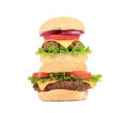 2 гамбургера в стоге Стоковая Фотография