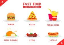 гамбургера градиентов быстро-приготовленное питания собаки пузыря произведения искысства слои editable горячие отсутствие использ Стоковое Изображение RF