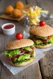 2 гамбургера с французскими фраями и зажаренными шариками Стоковое фото RF