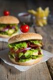 2 гамбургера с французскими фраями Стоковое Изображение RF