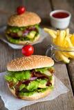 2 гамбургера с французскими фраями Стоковые Изображения RF