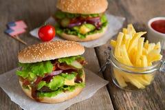 2 гамбургера с французскими фраями Стоковое фото RF