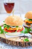 Гамбургер, бургер, cheeseburger с зажаренной говядиной, сыр, и овощи Стоковое Изображение RF