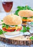 Гамбургер, бургер, cheeseburger с зажаренной говядиной, сыр, и овощи Стоковые Изображения RF
