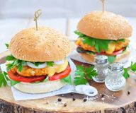 Гамбургер, бургер, cheeseburger с зажаренной говядиной, сыр, и овощи Стоковая Фотография RF