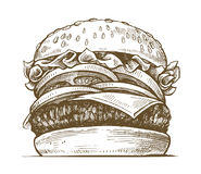 Гамбургер вектора нарисованный рукой иллюстрация вектора