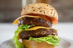 Гамбургер в плите Стоковое фото RF