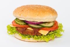 Гамбургер в плюшке с салатом Стоковые Изображения