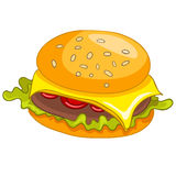 Гамбургер еды шаржа иллюстрация штока