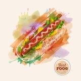 Гамбургер или сандвич акварели Эскиз фаст-фуда иллюстрация вектора