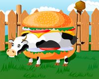 гамбургер коровы Стоковая Фотография