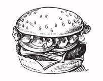 Гамбургер нарисованный шайкой бандитов иллюстрация штока