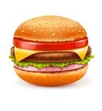Гамбургер на белой предпосылке Стоковые Фотографии RF