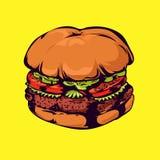 Гамбургер на желтой предпосылке иллюстрация вектора