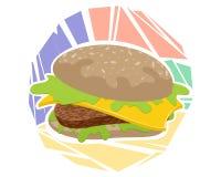 Гамбургер на покрашенной предпосылке стоковые изображения