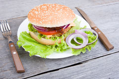 Гамбургер на плите Стоковая Фотография RF