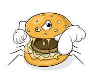 Гамбургер паука концепции еды фаст-фуда плохой иллюстрация вектора