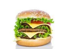 гамбургер предпосылки близкий снятый вверх по белизне Стоковые Изображения RF