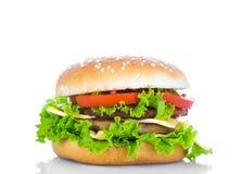 гамбургер предпосылки близкий снятый вверх по белизне Стоковое Изображение RF