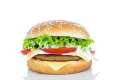 гамбургер предпосылки близкий снятый вверх по белизне Стоковые Фото