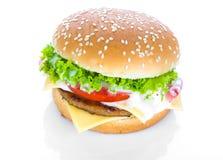 гамбургер предпосылки близкий снятый вверх по белизне Стоковое Фото