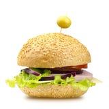 гамбургер предпосылки близкий снятый вверх по белизне Стоковое Изображение