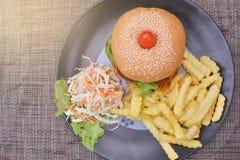 Гамбургер при увольнянная картошка салата Стоковое Изображение RF