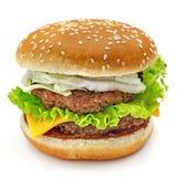 Гамбургер, сандвич, бургер с сыром, зеленый салат, китайская капуста, двойные пирожки мяса и плюшки с семенами сезама на белом b Стоковые Изображения