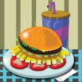 Гамбургер с фраями в кафе Стоковая Фотография RF