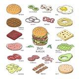 Гамбургер фаст-фуда вектора бургера или конструктор cheeseburger с иллюстрацией томата и сыра плюшки мяса ингридиентов иллюстрация вектора
