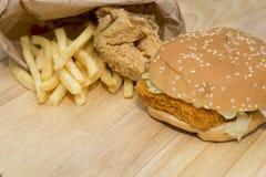 Гамбургер фаст-фуда установленный большой Стоковая Фотография
