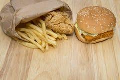 Гамбургер фаст-фуда установленный большой Стоковое Изображение