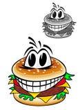 гамбургер шаржа иллюстрация вектора