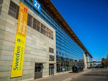 Ганновер, Германия - апрель 2019: Реклама страна-партнера Швеции на выставке 2019 Ганновер Messe стоковые изображения