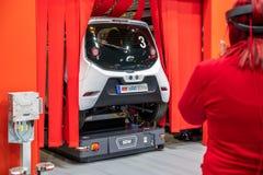 Ганновер, Германия - 2-ое апреля 2019: ЗАШЕЙТЕ Eurodrive продукция нового электрического e ИДЕТ автомобиль на стоковые изображения rf