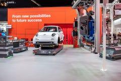 Ганновер, Германия - 2-ое апреля 2019: ЗАШЕЙТЕ Eurodrive продукция нового электрического e ИДЕТ автомобиль на стоковые фото
