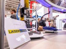 Ганновер, Германия - 2-ое апреля 2019: Лазер по требованию показывает новые нововведения на Ганновер Messe стоковое изображение rf