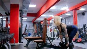Гантели атлетической молодой женщины поднимаясь на спортзале Стоковая Фотография RF