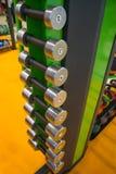 Гантели в спортзале, конец вверх по много на горизонтальном шкафе в центре фитнеса спорта Стоковые Изображения