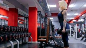 Гантели атлетической молодой женщины поднимаясь на спортзале Стоковые Фото