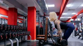 Гантели атлетической молодой женщины поднимаясь на спортзале Стоковое Изображение RF