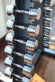 Гантели веса спорт установили в здоровую пользу тренажерного зала заботы Стоковое Изображение RF