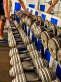 Гантели в спортзале спорта Стоковые Фото