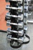 Гантели металла на вертикальном держателе конец вверх Стоковая Фотография