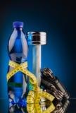 Гантели фитнеса и бутылка воды Стоковое Изображение RF